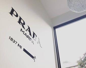 PRADA MARFA Gossip Girl home decor fashion acrylic wall decal installation interior letters words