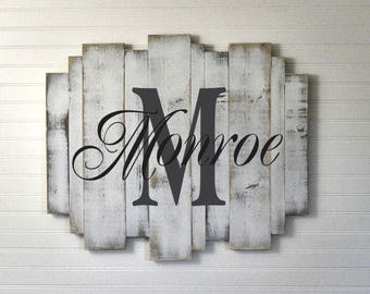 """Custom Painted White Washed Wood Sign on Multi Size Vertical Planks 29""""x24"""""""
