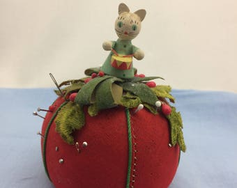 Vintage Sewing Collectible, Tomato Pin Cushion, Cat Lover Gift