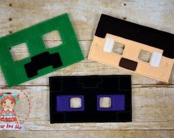 Minecraft Inspired Masks Creeper Steve Enderman Mask Birthday Party Idea