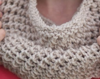 Beige cowl Knitted cowl Knitted neck warmer Cowl scarf Knit cowl Crochet cowl Knit snood Christmas gift  Neck wrap Beige neck warmer Snood