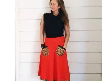 Sale Winter Skirt Orange Skirt Corduroy Skirt Cotton Black Lace Pocket Skirt Australian Made Flare Skirt Small Skirt Long Skirt Ooak Skirt
