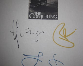 The Conjuring Signed Film Movie Screenplay Script X4 Autograph Vera Farmiga Patrick Wilson Lili Taylor Ron Livingston signature horror