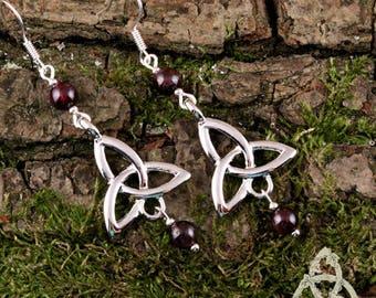 Elven red garnet silver triquetra earrings Celtic Neryn dark medieval Gothic wedding fairy magic