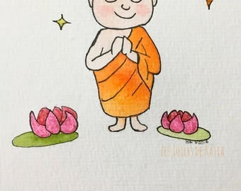Little smiling Buddhist monk. Watercolor postcard 10, 5 x 14, 8 card