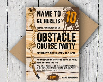Obstacle Course Invitation, Assault Course Invitation, Muddy Party, Paintballing, Activity Party, Birthday Invite, Digital Party Invitation