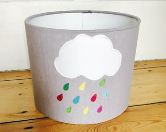 "Rainy day (bedside) lamp shade 6"" tall,lamp shade,nursery lamp shade ,kids gift,nursery decor"