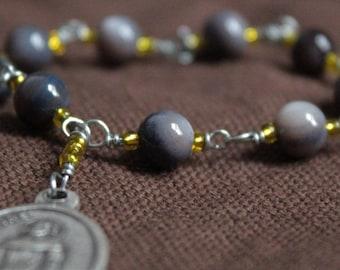 St. Peregrine Chaplet - Gold & Gray Stone