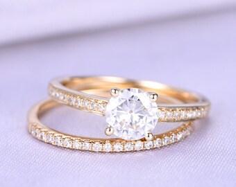 Moissanite Engagement Ring Set 5mm Round Cut Moissanite Ring Channel Setting Half Eternity Diamond Wedding Band Solid 14k Yellow Gold