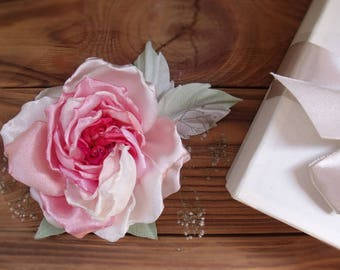 Rose pink, flower of fabric, flower for hair, village wedding, flower for bride, flower for hair, wedding, rose brooch, brooch flower