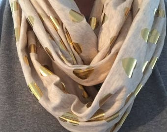 Infinity Scarf With Gold Hearts and Dots