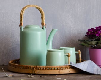 Vintage ceramic Tea set. Mint green with bamboo handles
