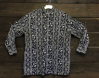 Vintage 80s Yves Saint Laurent Tribal Print Button Up