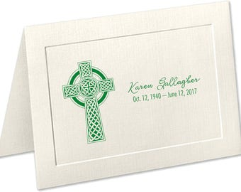 Personalized Sympathy Acknowledgement Cards, Celtic Cross, Funeral Thank You Cards, Irish Funeral Thank You Cards, Embossed Panel Cards