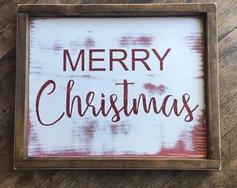 Merry Christmas- Hand Painted - With Frame- Custom Wooden Sign - Wall Decor