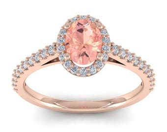 14K Rose Gold 1 CT Oval Morganite and Diamond Halo Ring