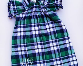 Girls Plaid Flannel Dress with Monogram
