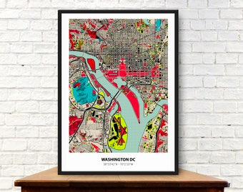Washington dc map, Washington print, Washington map, Washington dc art, Map art, Washington city,  Map print, Washington DC, Map wall art,