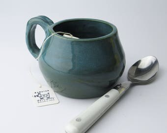 Turquoise /Tourmaline Glazed 10 oz Stoneware 10 oz Ceramic Coffee/Cappucinno/Hot chocolate Mug
