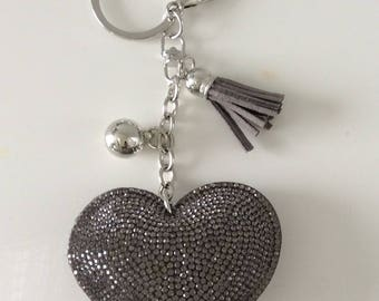 Stunning grey a rhinestone heart Keychain personalize with name