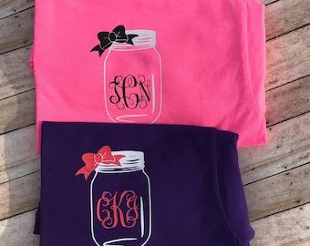 Mason jar with bow monogram t-shirt , monogram top women , short sleeve southern shirt , personalized summer shirt , monogrammed  clothing