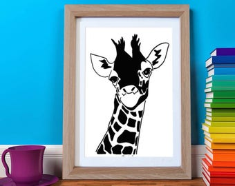 Giraffe Print, Giraffe Nursery, Jungle Nursery Art, Safari Nursery, Safari Animal Print, Kids Art, Kids Print, Monochrome Kids Print
