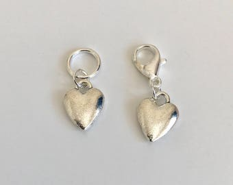 5 Silver Heart Stitch Markers - solid rings or lobster clasps