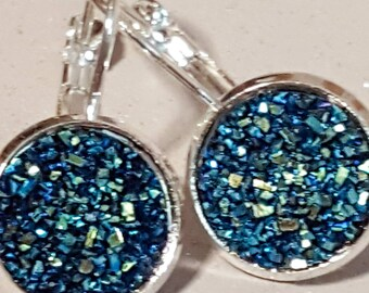 Navy blur faux druzy, lever arch, silver plated, nickel free,silver, sparkly glitter, faux druzy,druzy earrings, druzy dangly, jewellery