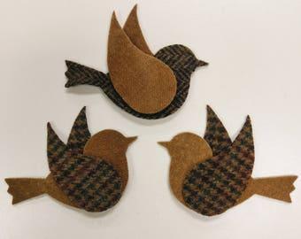 Hand-dyed Wool Brown Birds -- BUNDLE of 3 birds