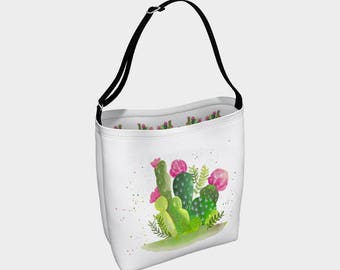 """Cactus watercolor"" shoulder bag"
