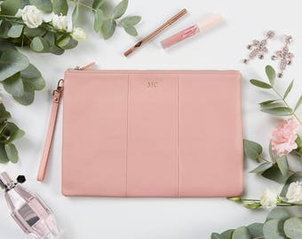 Large Pebbled Pouch Clutch - Pink