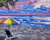 Seascape painting / sunset oil painting / ocean painting / original artwork / palette knife art / beach decor / wall decor