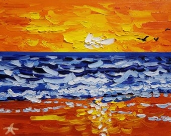 Sunset oil painting, abstract beach art, knife painting on canvas, by Ryan Kimba