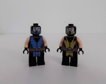 Mortal Kombat Sub Zero and Scorpion custom Minifigures printed on Lego Parts