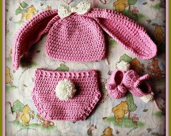 Crocheted Floppy Bunny Easter Baby Set, Bunny Ears, Easter Bunny, Bunny Costume, Easter Costume, Easter Photo Prop, Girl Bunny Hat