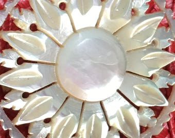 "Mother of Pearl Carved Brooch - Mother of Pearl Flower Brooch - 1950s Vintage Mother of Pearl Circle Flower Pin - 1 1/2"" Mother of Pearl Pin"