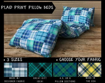 Kids Nap Mat - Preschool Nap Mat - Toddler Nap Mat - Pillow Mattress - Pillow Bed - Boys Pillow Bed - Plaid Pillow Bed - Kids Floor Pillows