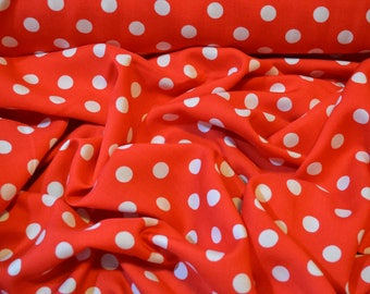 100% Viscose Fabric in Bright Red Polka Dot Spots - By the half metre