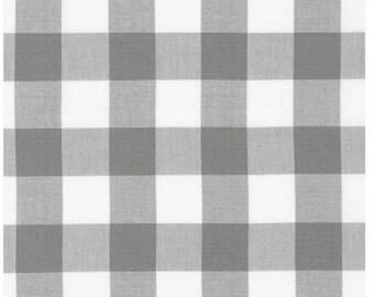 Gray and White Plaid Cotton Fabric - Robert Kaufman - Carolina Gingham 1'' P-9811-12 GREY- Plaid by the Yard- Gray Gingham Quilting Fabric