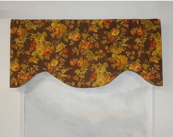 Richloom Cabbage Rose Brown Floral Valance