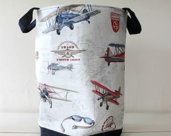 Fabric basket,airplanes,biplanes print.Spanish cotton canvas & denim,Storage bin,Home decor,Corduroy,chenille,Basket bin.Laundry,Toy storage
