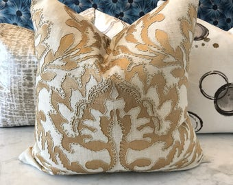 Linen and Gold Embroidered Pillow