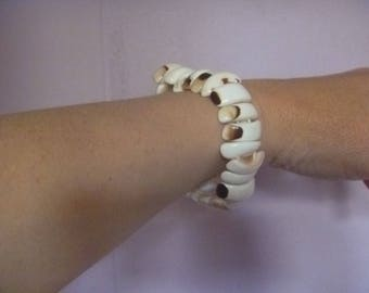 reversible seashell bracelet, elasticated vintage shell bracelet