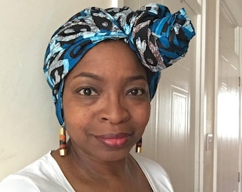 Blue African headwrap, African print head wrap, blue headwrap, blue batik headwrap, blue bandana, Ankara headwrap
