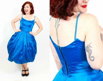 1950s Bright Blue Party Dress with Tulip Skirt and Rhinestones - Small