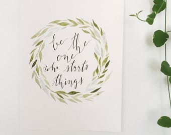 Hand Painted Watercolor Wreath Painting with Quote 9x12""