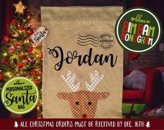 Personalized Santa sack, burlap Santa sack, Santa sack, personalized Christmas bag, Santa bag, burlap bag, burlap Santa bag, reindeer bag