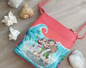 READY TO SHIP Hand painted Moana crossbody purse Maui custom