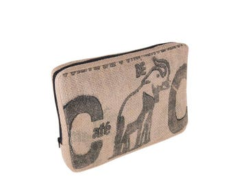 Upcycling laptop bag sleeve case to 13 inches from coffee sack (motive: black elephant)