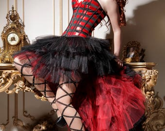 Corset Red Night - red and black corset - lingerie corset by LinCorsets™
